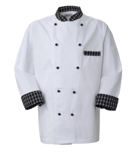 Chef jacket, front closure with double-breasted buttons, left side pocket, 3/4 length sleeve, colour white black squares white