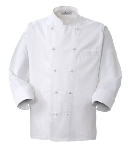 Chef jacket, front closure with double-breasted buttons, left side pocket, 3/4 length sleeve, colour white