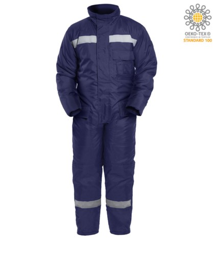coldstore coverall, maximum protection from the cold, oversized back pockets, chest pocket, knee reinforcement, blue colour. CE certified, EN 342:2004
