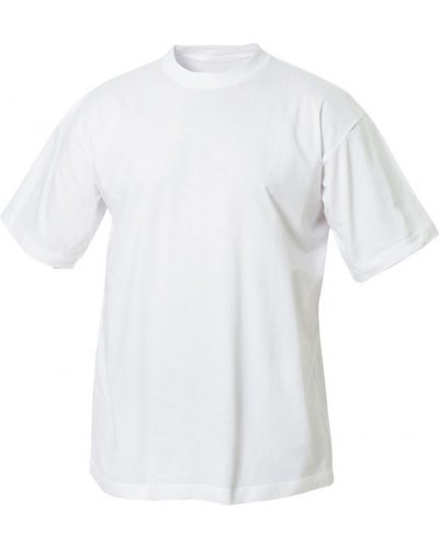 T-shirt, ribbed collar with elastane, color white