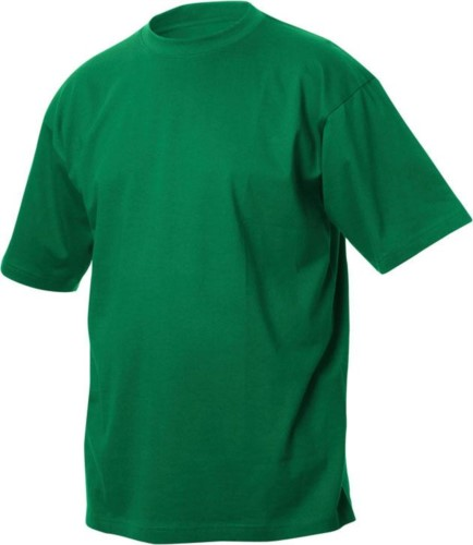 T-shirt, ribbed collar with elastane, color green grass