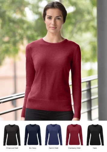 Woman sweater crew neck, long sleeves, ribs on the lower edges and cuffs, cotton and acrylic fabric