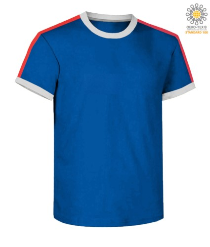 Round neck work T-shirt, collar and sleeve bottom in contrasting and stripes of color on the shoulders, color royal blue