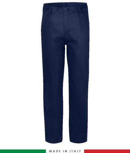 Two-tone multipro trousers, multi-pocket, coloured profile on the pockets, Made in Italy, certified EN 11611, EN 1149-5, EN 13034, CEI EN 61482-1-2:2008, EN 11612:2009, color navy blue
