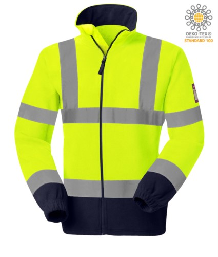 Fireproof fleece, antistatic high visibility, drawstring hem, elasticated cuffs, front opening with zip, yellow and navy blue. CE certified, EN 11612:2009, EN 1149-5, AS/NZS 4602.1N/D, UNI EN 20471:2013