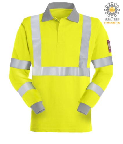 Long sleeve polo shirt, high visibility antistatic flame retardant, concealed button closure, reflective band on chest and two sleeves, two-tone, certified EN 20471, EN 1149-5, CEI EN 61482-1-2:2008, EN 11612:2009, colour yellow