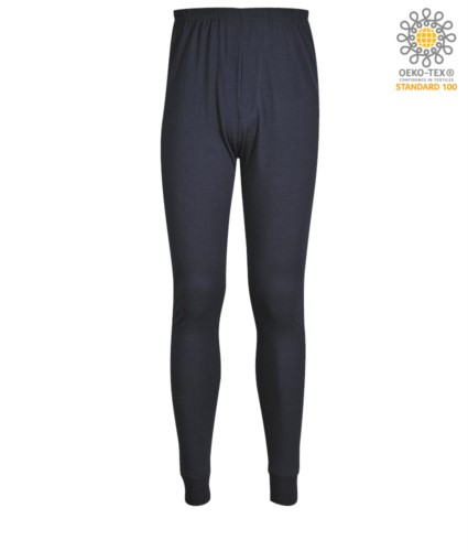 Fireproof and antistatic underwear, ideal for cold conditions, elastic waistband, ribbed hems, navy blue colour. ASTM certified F1959-F1959M-12, EN 1149-5, CEI EN 61482-1-2:2008, EN 11612:2