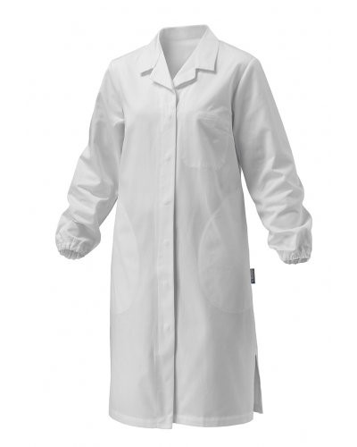 Women coat, long sleeve, button closure, applied pocket, two side pockets, elastic cuffs, white, CE certified, Colour White.