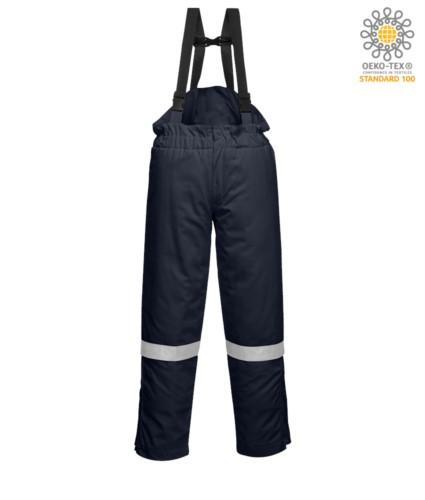 Winter bib and dungarees, anti-static and flame retardant, adjustable waist, zip opening hidden in the leg, reflective band on the leg, certified EN 11611, EN 342:2004, EN 1149-5, EN 11612:2009, color blu navy
