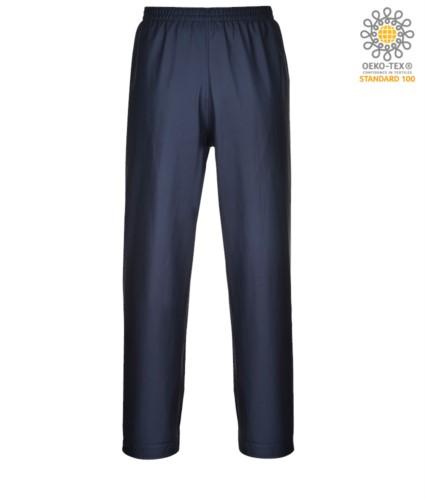 Fireproof, anti-acid and antistatic trousers, adjustable hems with buttons, navy blue colour. CE certified, EN 343:2008, EN 1149-5, EN 13034, UNI EN ISO 14116:2008