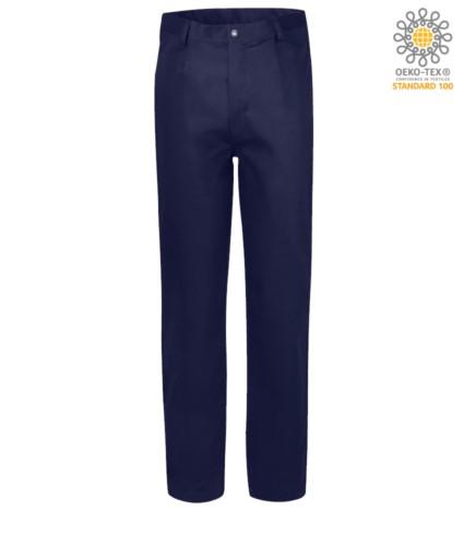 Fireproof trousers, zip closure, two front pockets, tape measure pocket, navy blue color. CE certified, NFPA 2112, EN 11611, EN 11612:2009, ASTM F1959-F1959M-12