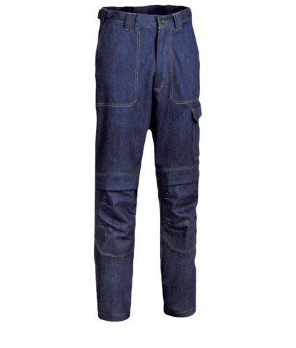 Fireproof trousers, two front and back pockets, meter pocket, blue denim colour. UNI EN ISO 340:2004, EN 11611, EN 11612:2009 certified.
