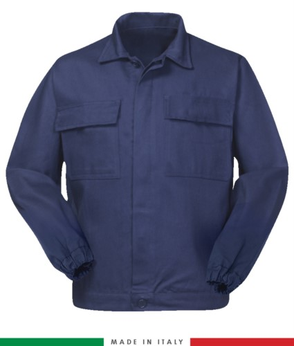 Multipro jacket, covered button closure, two chest pockets, elasticated cuffs, colour inserts on shoulders and inside collar, Made in Italy, certified EN 11611, EN 1149-5, EM 13034, CEI EN 61482-1-2:2008, EN 11612:2009, colour navy blue