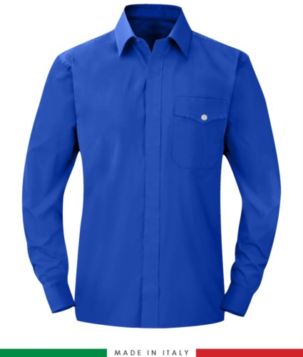 Fireproof shirt, antistatic, long sleeve antacid, chest pocket, Made in Italy, certified EN 1149-5, EN 13034, EN 14116:2008, color Royal Blue