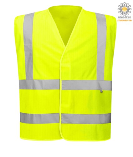 High visibility antistatic fireproof vest, closed with velcro, double reflective band on the waist, certified UNI EN 20471:2013, EN 1149-5, UNI EN ISO 14116:2008, color yellow
