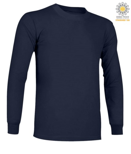 Long-sleeved, fire-retardant and antistatic long-sleeved T-Shirt, crew neck, elasticated cuffs, certified ASTM F1959-F1959M-12, EN 1149-5, CEI EN 61482-1-2:2008, EN 11612:2009, co navy blue
