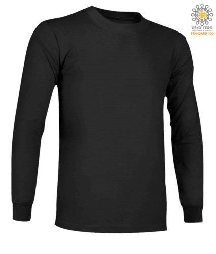 Long-sleeved, fire-retardant and antistatic long-sleeved T-Shirt, crew neck, elasticated cuffs, certified ASTM F1959-F1959M-12, EN 1149-5, CEI EN 61482-1-2:2008, EN 11612:2009, co black