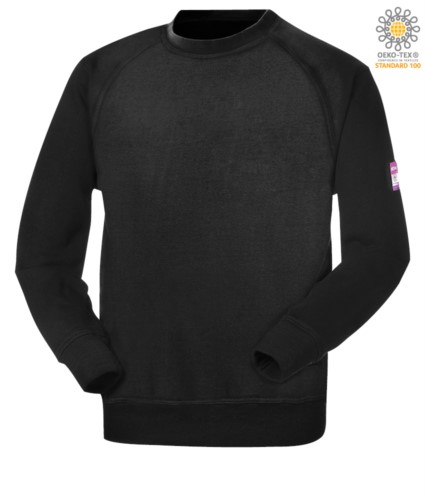 Fireproof and antistatic crew neck sweatshirt, raglan sleeves and wrist with elastic, modaflame fabric, certified ASTMF1959-F1959M-12, EN 1149-5, CEI EN 61482-1-2:2008, 2009, black color482-1-2:2008, EN 11612:2009