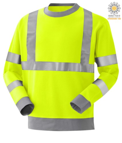 Fire retardant, high visibility anti-static sweatshirt, crew neck, reflective band on waist and shoulders, double band on sleeves, two-tone, referred to EN 20471, EN 1149-5, CEI EN 61482-1-2:2008, EN 11612:2009, colour yellow