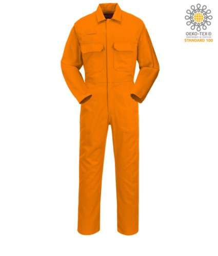 Fireproof suit, Radio ring, button fly, chest pockets, tape measure pocket, adjustable cuffs, orange color. CE certified, NFPA 2112, EN 11611, EN 11612:2009, ASTM F1959-F1959M-12