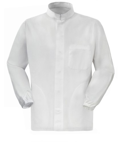 work jacket for food use with long white zip 100% cotton massaua