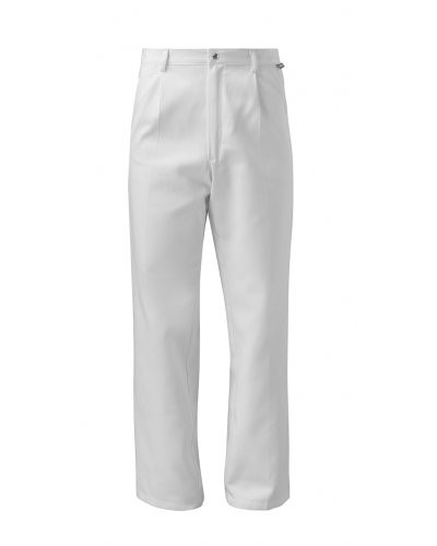 Food trousers, classic model, snap button closure, white color, CE certified