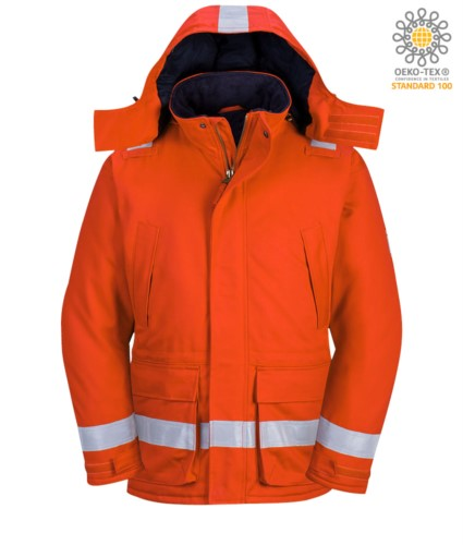 Flame resistant, antistatic winter jacket, two front pockets, zip and button closure, adjustable sleeve opening, detachable hood, certified EN 11611, EN 342:2004, EN 1149-5, EN 11612:2009, colour orange