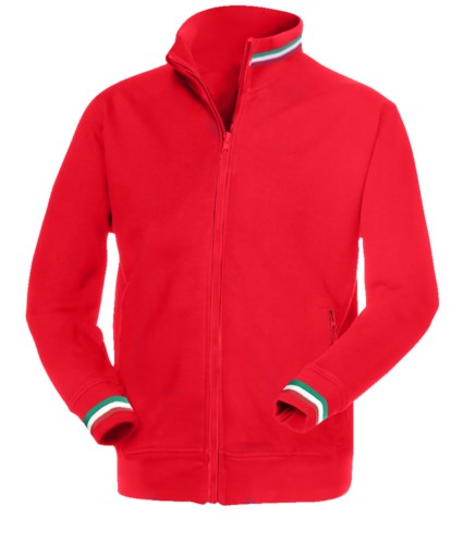 red long zip work sweatshirt with tricolour inserts