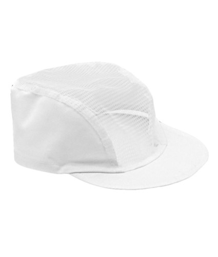 Chef hat, rigid visor with mesh headgear, elastic at the back of the neck, color white