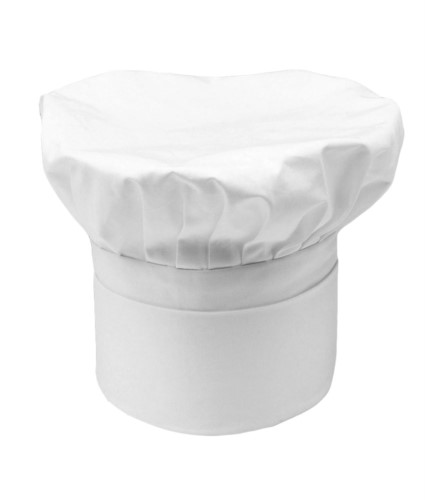 Chef hat, double band of fabric, with upper part inserted and sewn in pleats, color white
