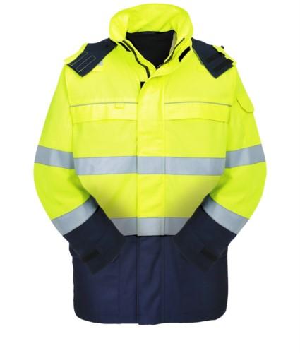 Multipro high visibility jacket, two-tone, concealed hood, two chest pockets and two waist pockets, double band on waist and sleeves, yellow/blue, certified EN 343:2008, UNI EN 20471:2013, EN 11611, EN 1149-5, EN 13034, CEI EN 61482-1-2:2008, EN 11612:2009