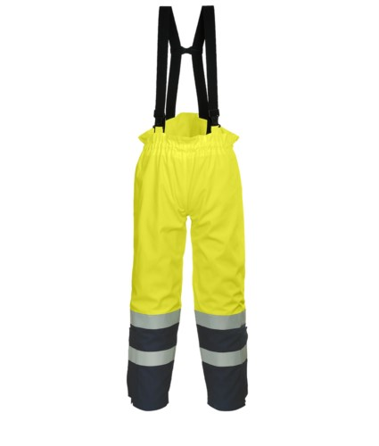 Antistatic, high visibility fireproof trousers, adjustable shoulder straps with buckle, double band on the bottom of the leg, two-tone, certified EN 343:2008, UNI EN 20471:2013, EN 1149-5, EN 13034, UNI EN ISO 14116:2008, colour yellow/blue