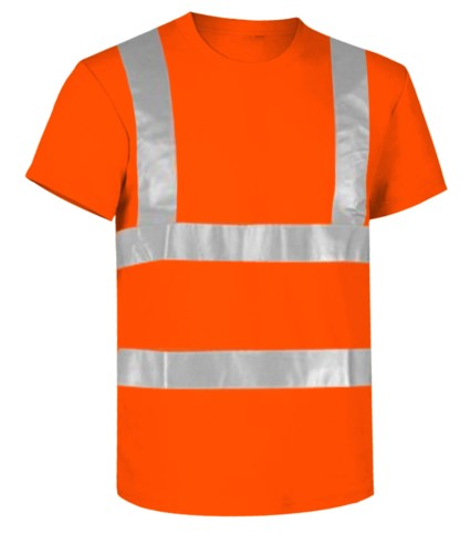 High visibility T-shirt with reflective bands, certified EN 20471, color orange