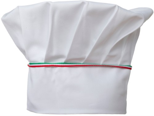 Chef hat, double band of fabric with upper part inserted and sewn in pleats, color white tricolor