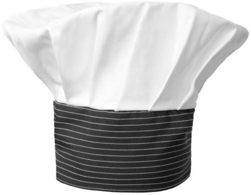 Chef hat, double band of fabric with upper part inserted and sewn in pleats, color white, black pinstripe