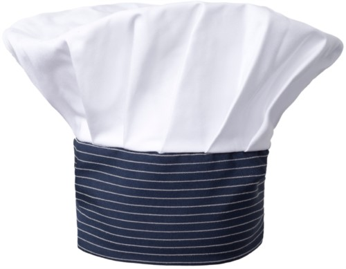 Chef hat, double band of fabric with upper part inserted and sewn in pleats, color white, blue pinstripe