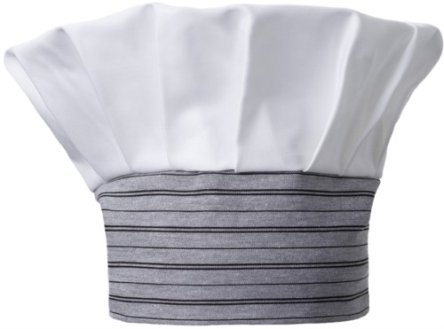 Chef hat, double band of fabric with upper part inserted and sewn in pleats, color white, striped grey black