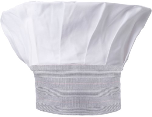 Chef hat, double band of fabric with upper part inserted and sewn in pleats, color white wales