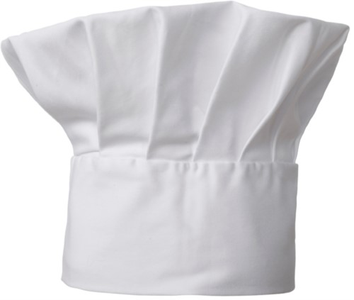 Chef hat, double band of fabric with upper part inserted and sewn in pleats, color white