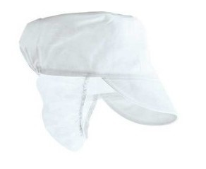 Hat for food industry, elasticated back, mesh back collar, color white