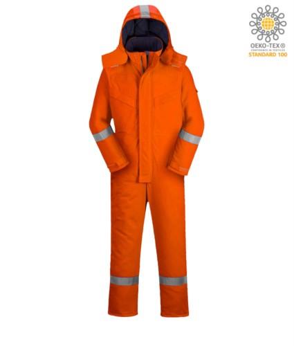 Upholstered anti-flame and antistatic winter jumpsuit, multi-pockets, reflective bands on the bottom of the leg, sleeves and hood, detachable hood, kneepad pockets, certified EN 11611, EN 342:2004, EN 1149-5, EN 11612:2009, colour orange