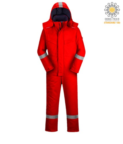 Upholstered anti-flame and antistatic winter jumpsuit, multi-pockets, reflective bands on the bottom of the leg, sleeves and hood, detachable hood, kneepad pockets, certified EN 11611, EN 342:2004, EN 1149-5, EN 11612:2009, colour red