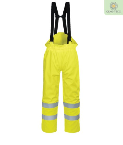 Antistatic lined trousers, fireproof high visibility, ankle zip, elasticated back waist, cotton lining,yellow color. CE certified, EN 343:2008, EN 1149-5, UNI EN 20471:2013, EN 13034, UNI EN ISO 14116:2008