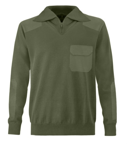 Men high neck sweater, short zip, shoulder and elbow patches, flap pocket, 100% acrylic fabric color khaki