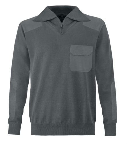 Men high neck sweater, short zip, shoulder and elbow patches, flap pocket, 100% acrylic fabric color grey