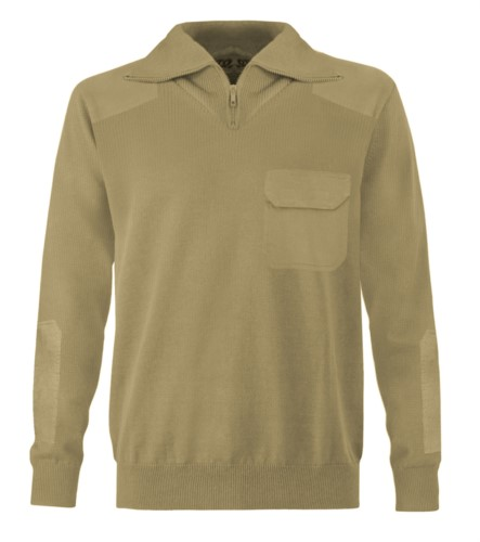 Men high neck sweater, short zip, shoulder and elbow patches, flap pocket, 100% acrylic fabric color camel