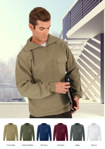 High neck short zip sweater