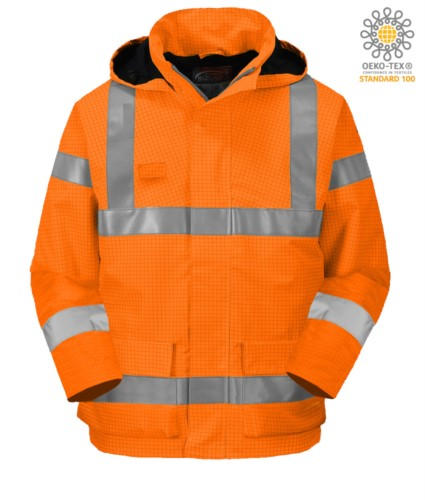 Fireproof jacket, high visibility antistatic, pockets, double band on waist and sleeves, concealed hood, inner padding, certified EN 343:2008, UNI EN 20471:2013, EN 1149-5, EN 13034, UNI EN ISO 14116:2008, color orange