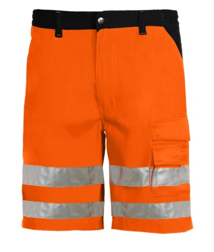 Bermuda shorts high visibility multi-pocket two-tone with double band on the legs, certified EN 20471, Color orange