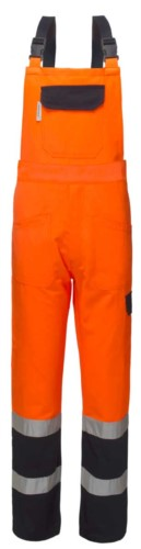 Two-tone high visibility bibs, with central pocket on the bib, adjustable shoulder straps, double band at the bottom of the leg, certified EN 20471, colour orangeand blue.